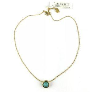 LRL Womens Necklace Gold Tone Turquoise Rhinestone